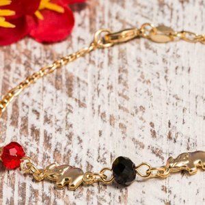 Elephant Bracelet 14k Plated Cuban Black/Red